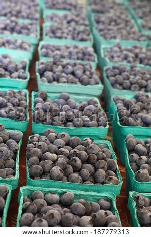 Boxes of Blueberries in green cartons at farmers market - stock photo