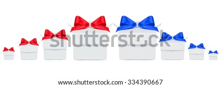 Boxes with gifts of blue and red, of various sizes isolated on white background - stock photo