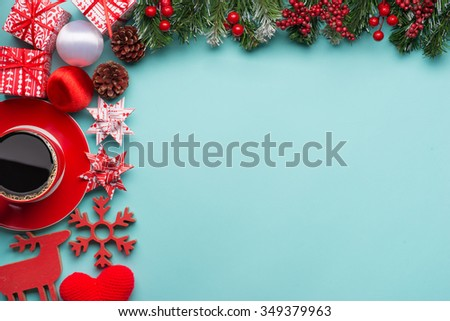 Boxes with gifts on a blue cyan background. Happy new year. Space for text. Colorful Concept. New Year background. Christmas. Xmas. Noel. - stock photo