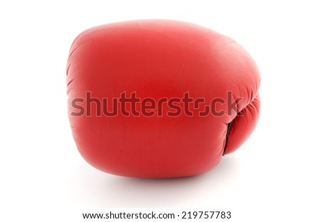boxing glove isolated on white front view - stock photo