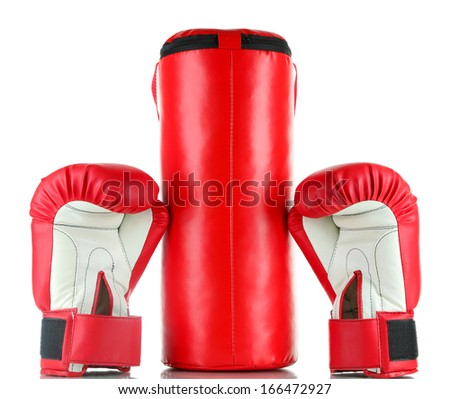 Boxing gloves and punching bag, isolated on white - stock photo