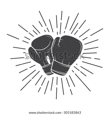 Boxing gloves in vintage style - stock photo