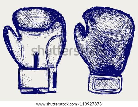 Boxing gloves. Raster - stock photo