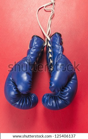 Boxing gloves series : Blue gloves - stock photo