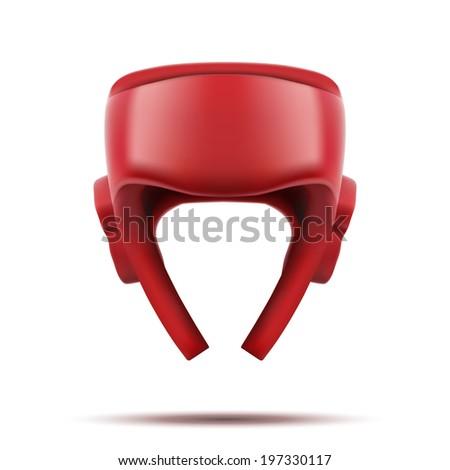 Boxing helmet. Sport goods, defense and equipment. Bitmap copy. - stock photo