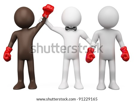 Boxing Referee choosing the winner between two boxers - stock photo