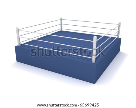 Boxing ring. 3D rendering of a boxing arena - stock photo