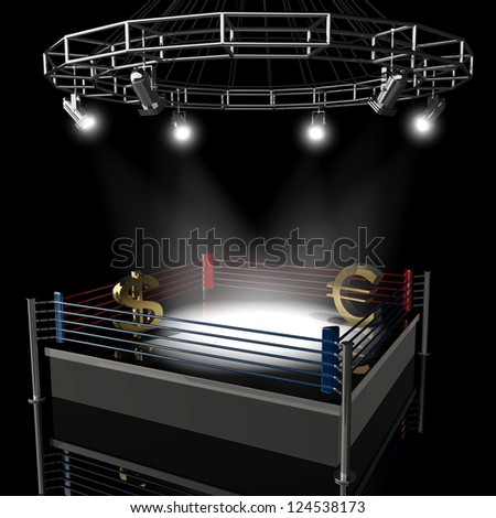 Boxing ring dollar vs euro. High resolution 3d render - stock photo
