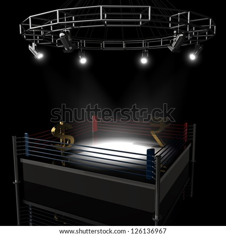 Boxing ring dollar vs Indian rupee. High resolution 3d render - stock photo