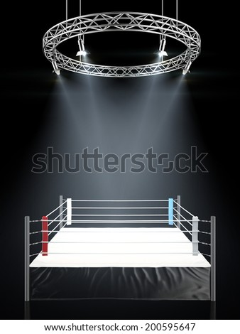 Boxing ring in dark isolated on a black background.  - stock photo