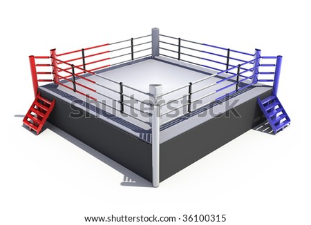 Boxing ring isolated on white background - 3d render - stock photo