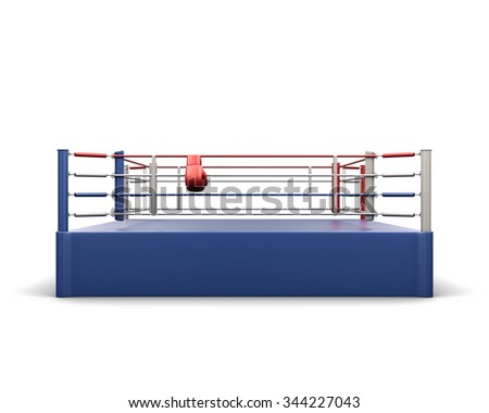 Boxing ring isolated on white background. 3d rendering. - stock photo