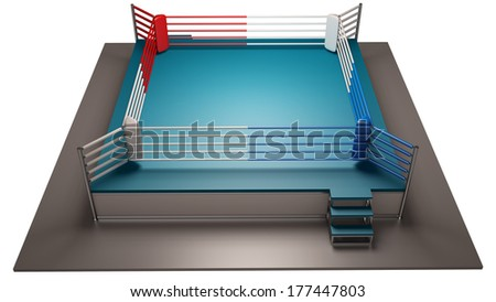 Boxing ring isolated on white background High resolution 3d render  - stock photo