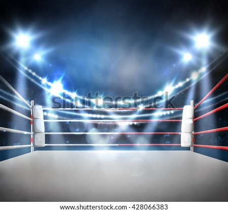 boxing ring with illumination by spotlights. digital effect 3d render. - stock photo