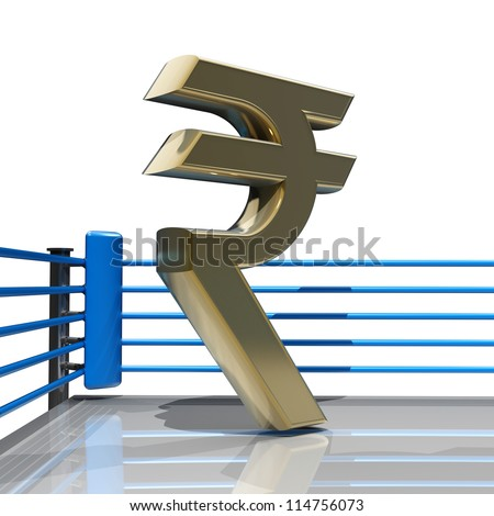 Boxing ring with Indian rupee symbol isolated on white background - 3d render high resolution - stock photo
