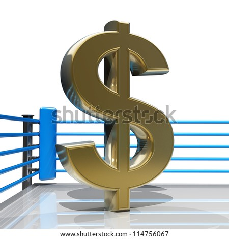Boxing ring with US dollar symbol isolated on white background - 3d render high resolution - stock photo