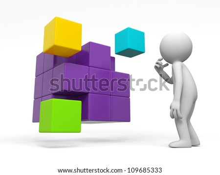 boxs /a people is standing in front of some boxs thinking - stock photo