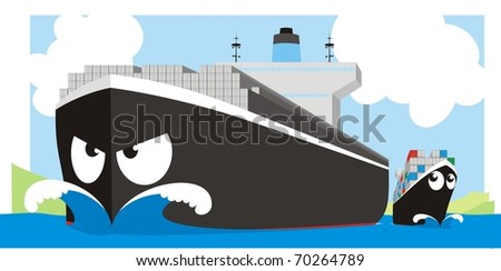 Boxship giant - Container vessel raster cartoon illustration - stock photo