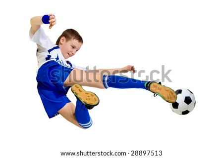 boy a footballer beating on a ball in a jump on a white background - stock photo