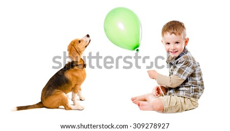 Boy and beagle dog playing balloon isolated on white background - stock photo