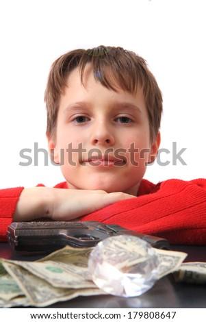 boy and diamnod isolated on the white background - stock photo