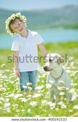 boy and dog - stock photo