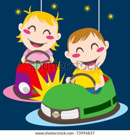 Boy and girl driving bumper cars having fun colliding - stock photo