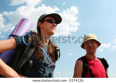 boy and girl in hike - stock photo