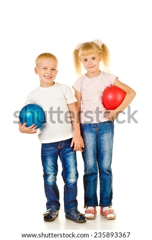 boy and girl isolated on a white background - stock photo