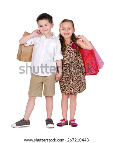 boy and girl making shopping - stock photo