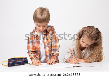 boy and girl paint - stock photo