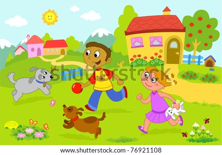 Boy and girl playing with dogs. - stock photo