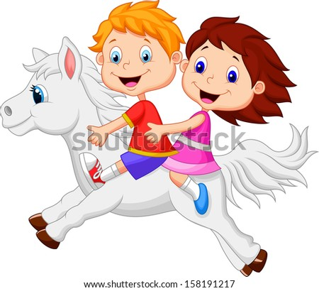 Boy and girl riding a white horse - stock photo