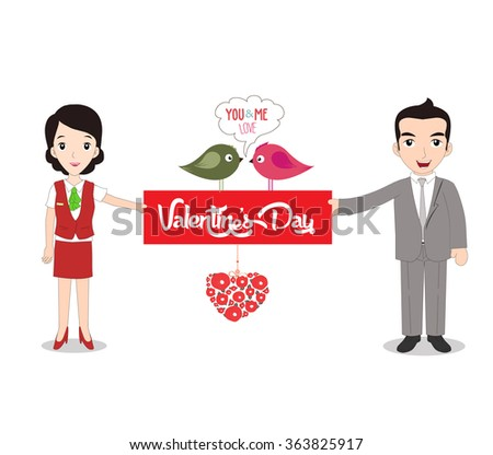 Boy and girlfriend holding Valentine's day note - stock photo