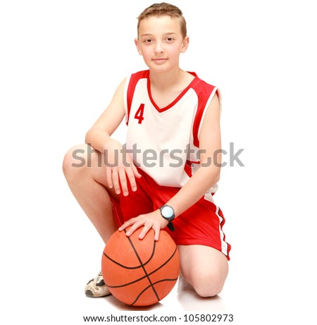 Boy athlete with the ball on the isolated - stock photo