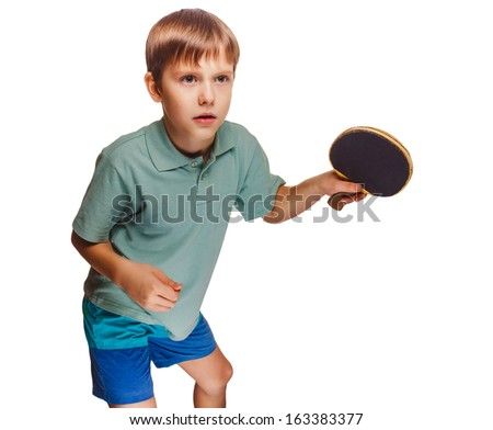 boy blond man playing table tennis forehand takes topspin isolated on white background - stock photo