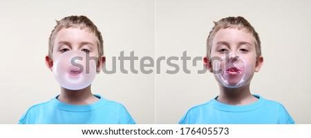 Boy blowing a bubble - stock photo