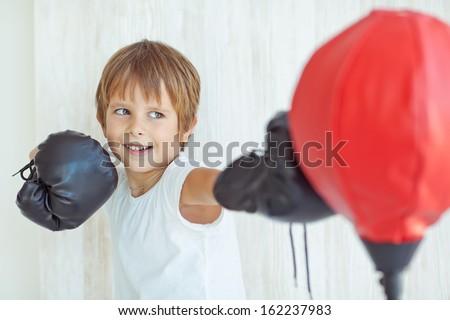 Boy boxing - stock photo