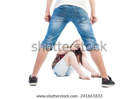 Boy bullying girl concept on white background - stock photo