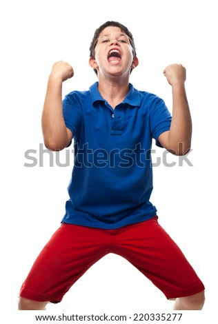 boy celebrating - stock photo