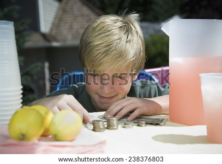 Boy Counting Money Made from Selling Lemonade - stock photo