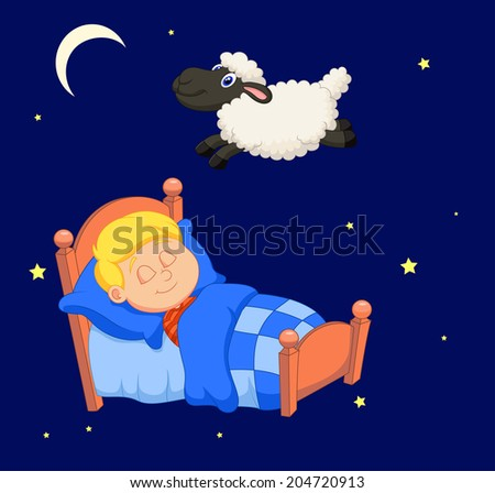 Boy counting sheep - stock photo