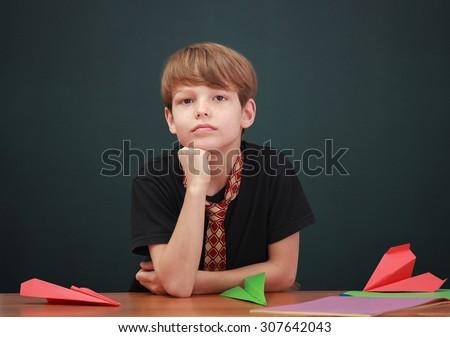 boy daydreaming - stock photo