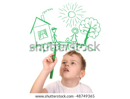 boy drawing  his family by felt-tip pen, collage - stock photo