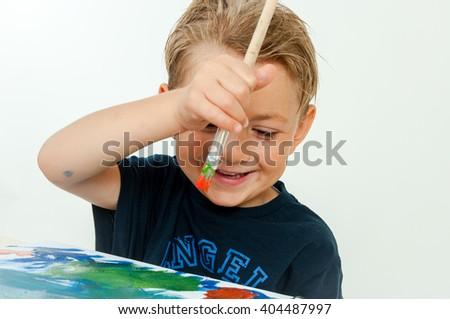 boy drawing summer - stock photo