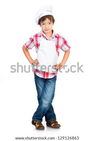 boy dressed as a cook isolated on a white background - stock photo