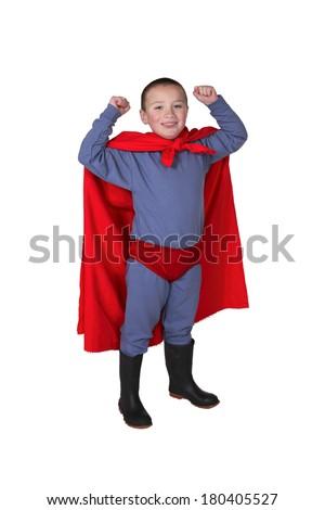 Boy Dressed up Like Superhero - stock photo