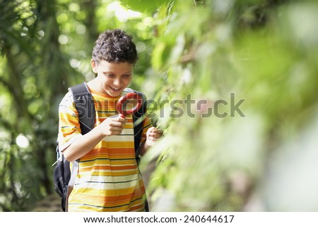 Boy Examining Plant with Magnifying Glass - stock photo