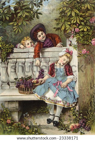 Boy flirts over the garden fence with a sleepy girl as his younger sibling looks on - a Victorian style illustration, circa 1850 - stock photo