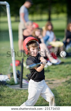 Boy Getting Ready to Hit a Home Run - stock photo